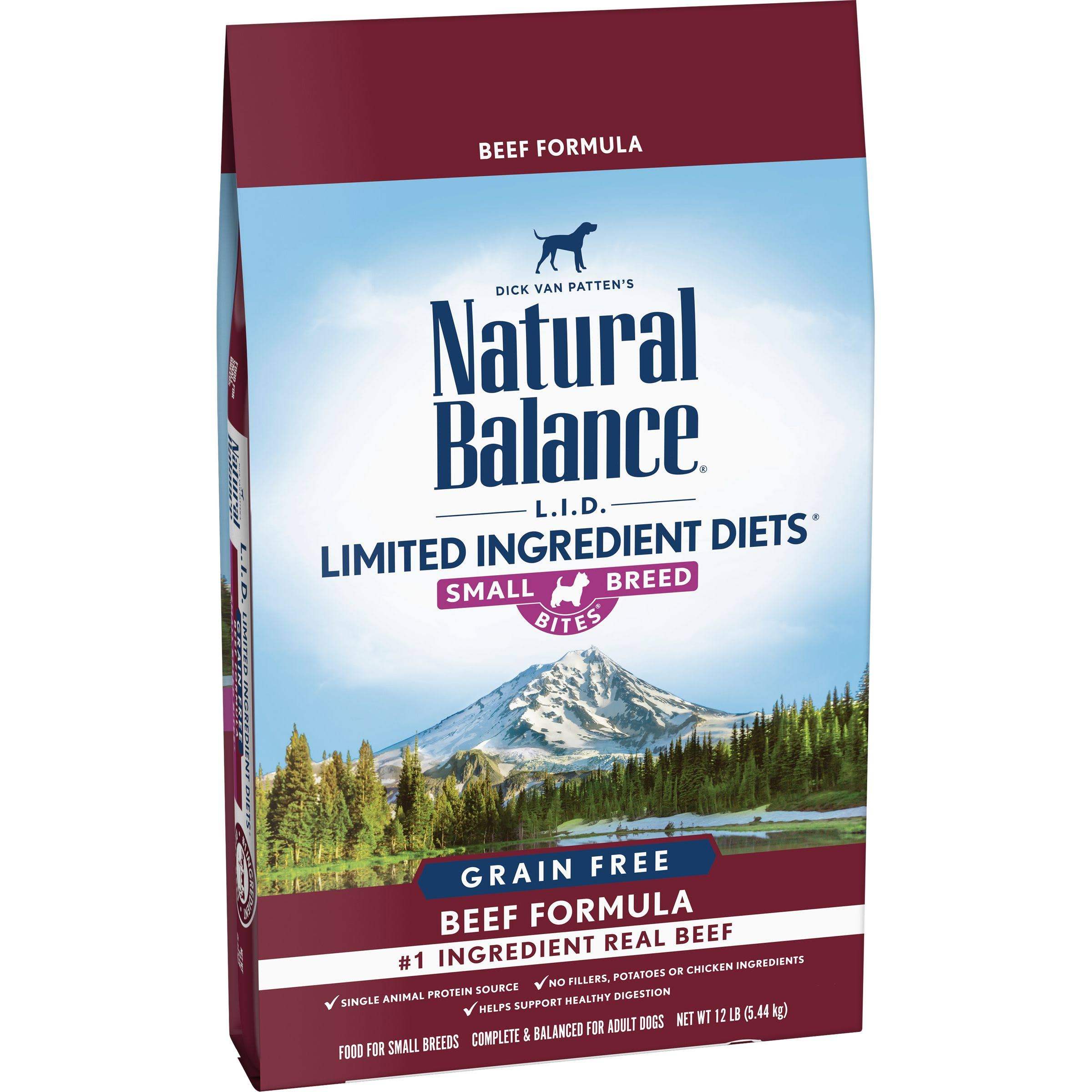 Natural Balance L.I.D. Limited Ingredient Diets Grain Free High Protein Beef Formula Small Breed Bites Dry Dog Food (12 lb)