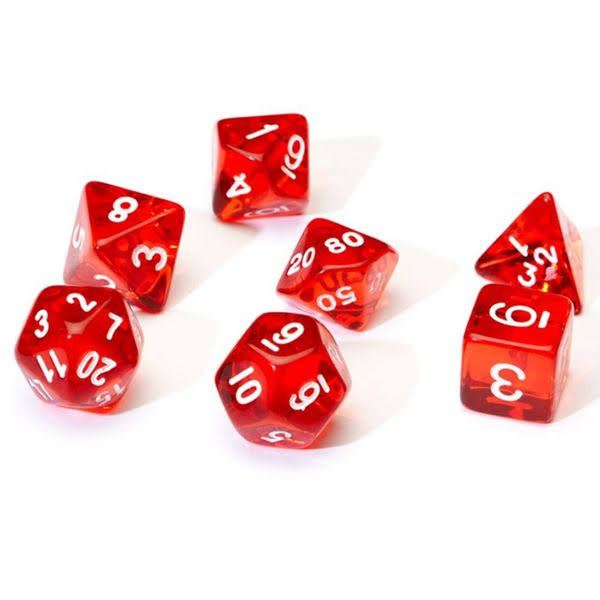 Sirius Dice RPG Dice Set - Translucent Red Resin, 7pcs