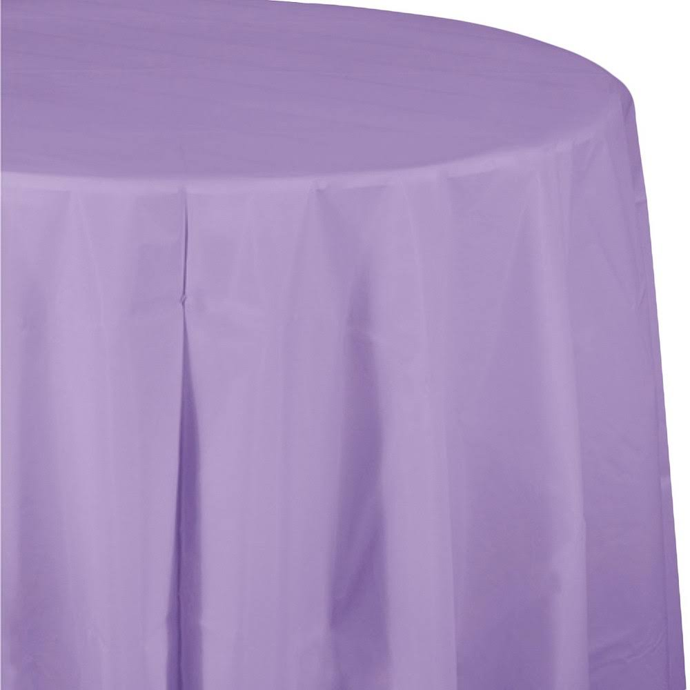 Creative Converting Octy Round Plastic Table Cover - Luscious Lavender, 82""