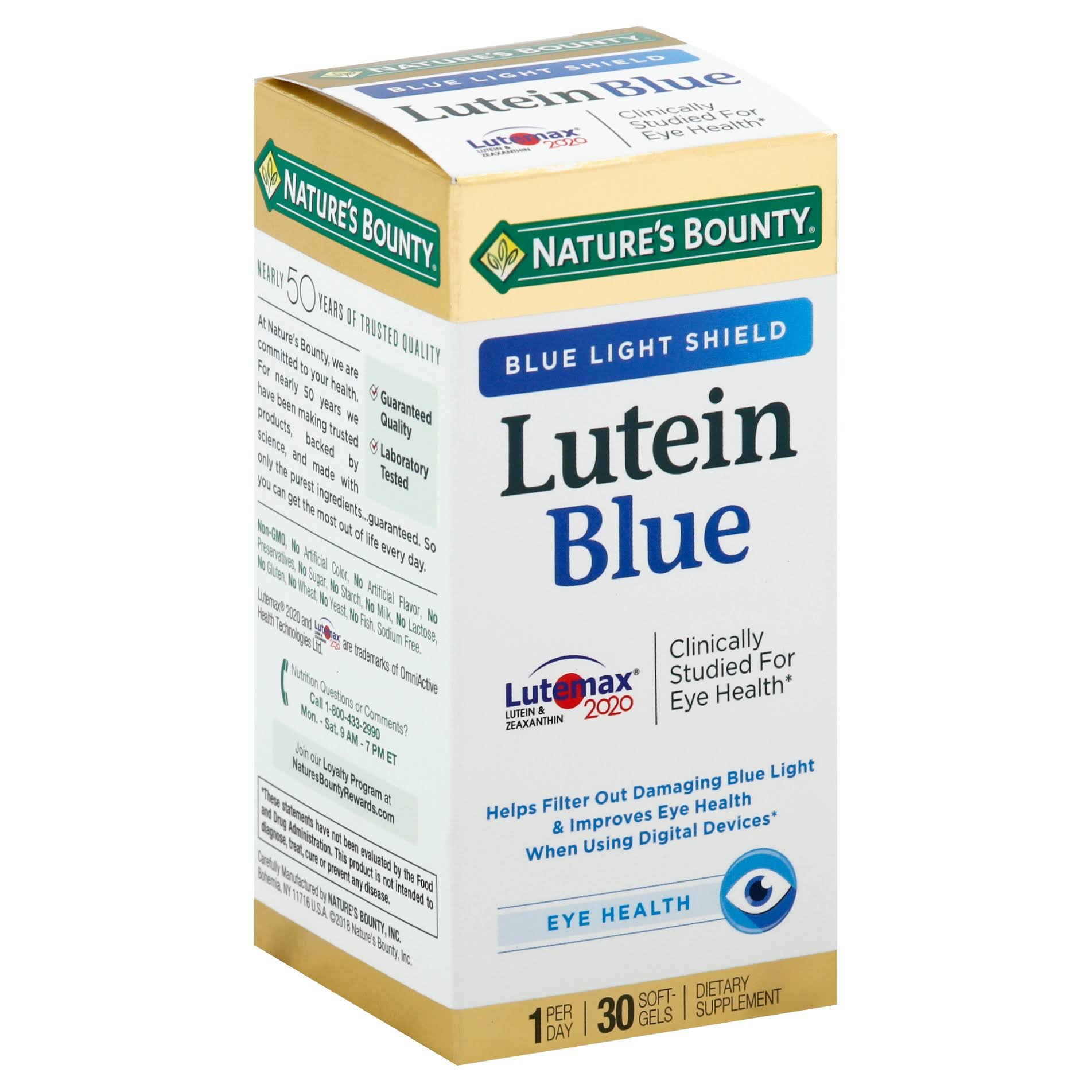 Nature's Bounty Lutein Blue Dietary Supplement - 30ct