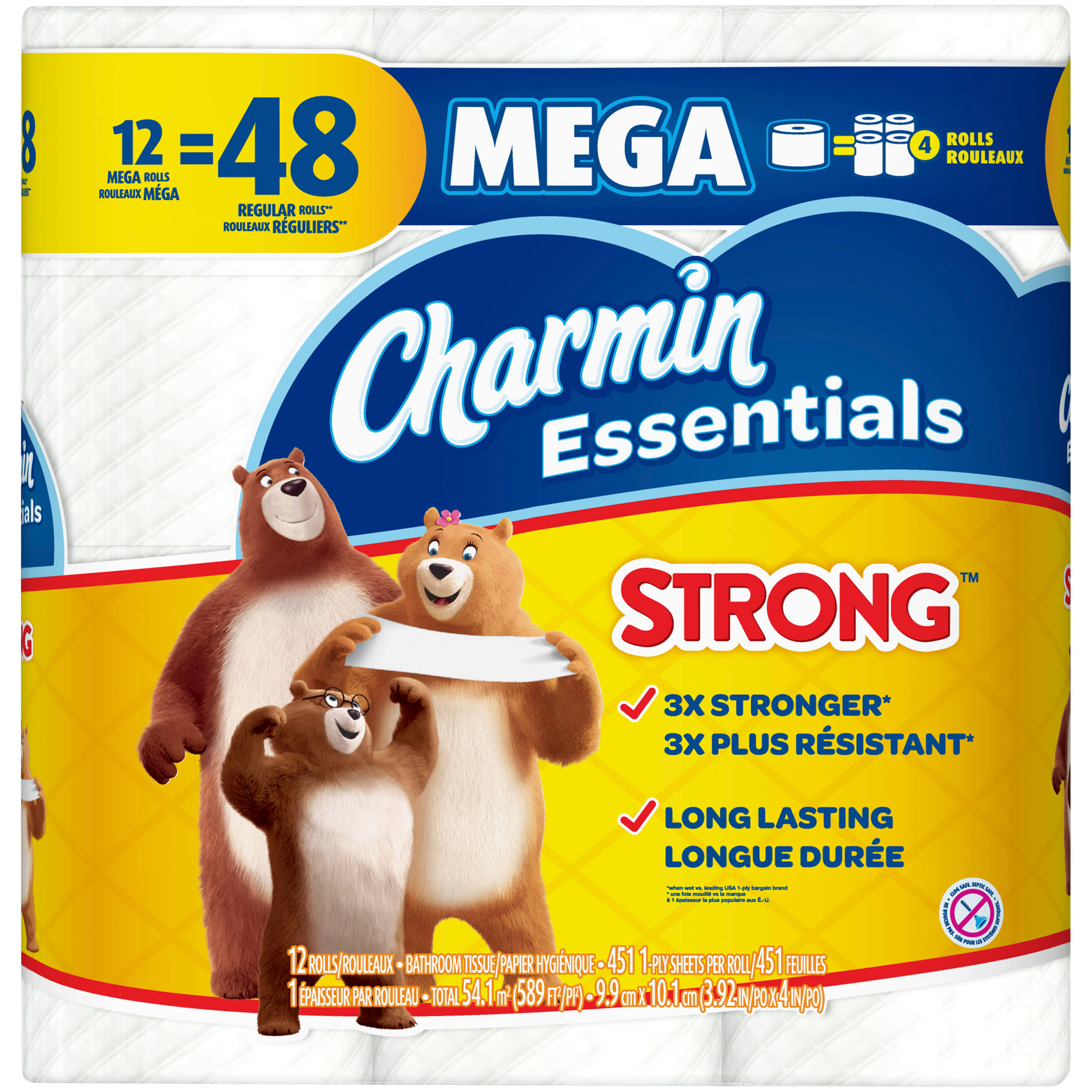 Charmin Essentials Bathroom Tissue, Mega Roll, Strong, 1-Ply - 12 rolls
