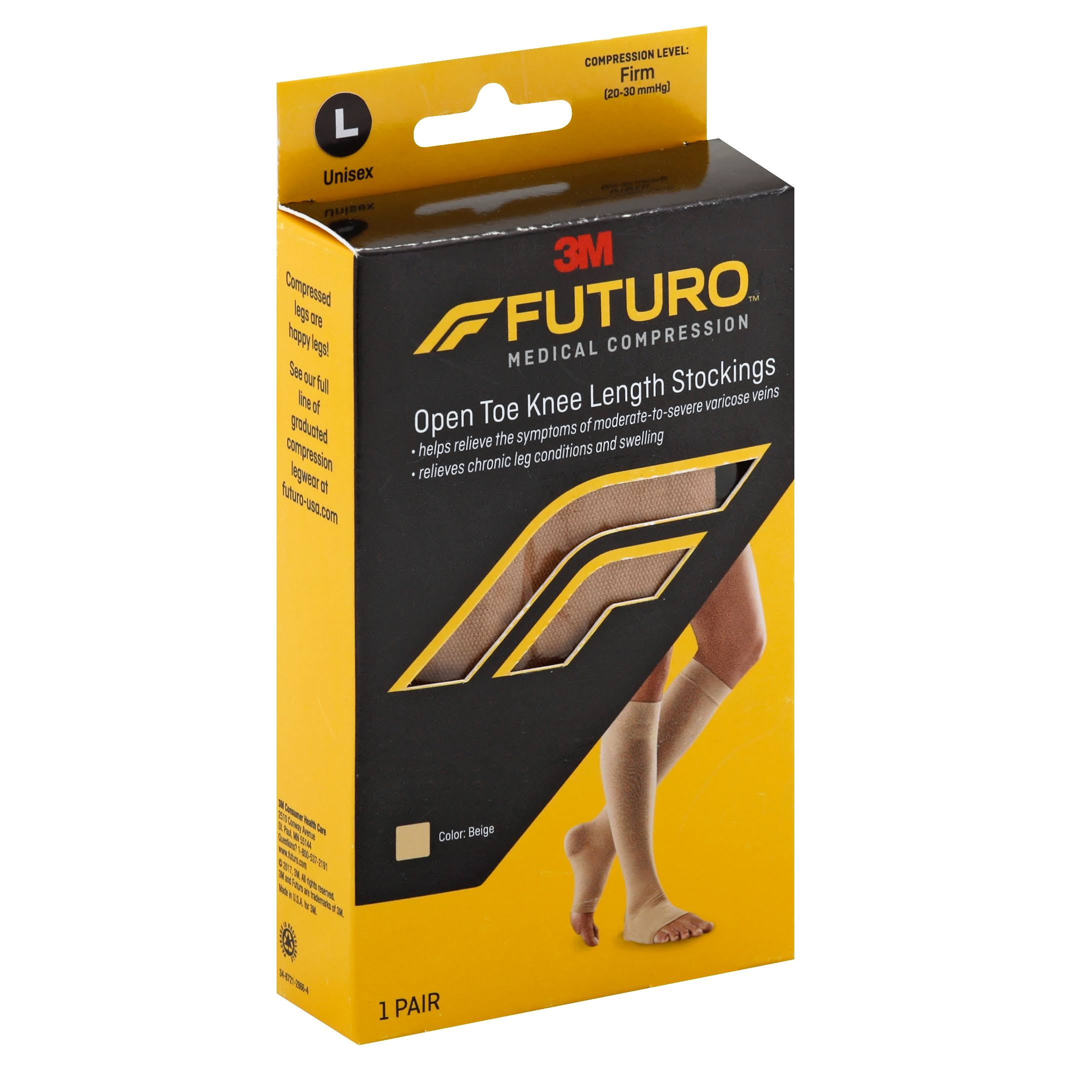 Futuro Stockings, Open Toe Knee Length, Unisex, Nude, Large