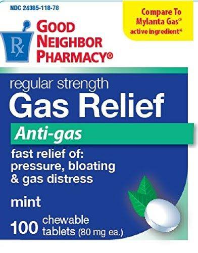 GNP Gas Relief Anti-Gas 100 Chewable Tablets Pressure, Bloating & Gas