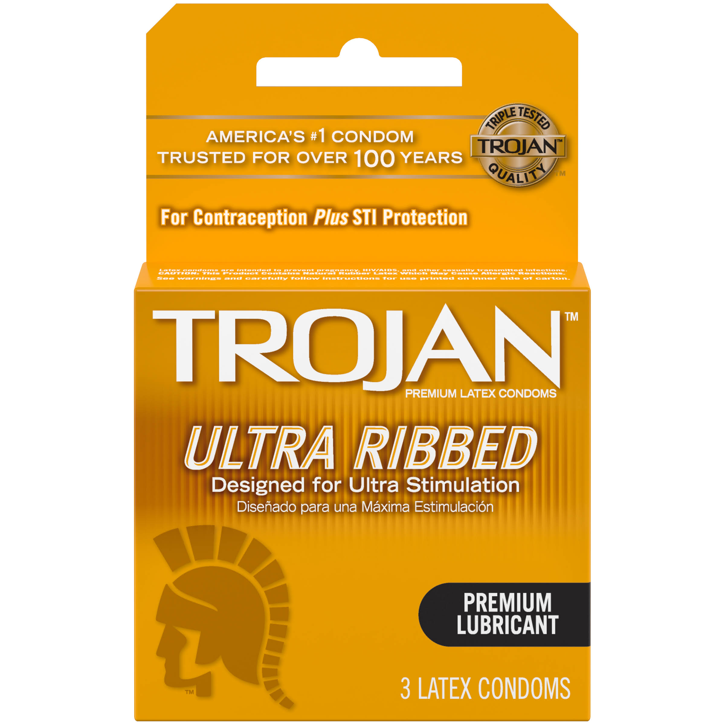 Trojan Ultra Ribbed Premium Lubricant Latex Condoms - 3 Pack