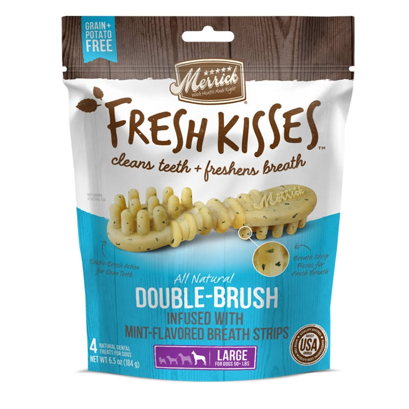 Merrick Fresh Kisses Double-brush Mint Breath Strips Large Grain-Free Dental Dog Treats, 7 Count