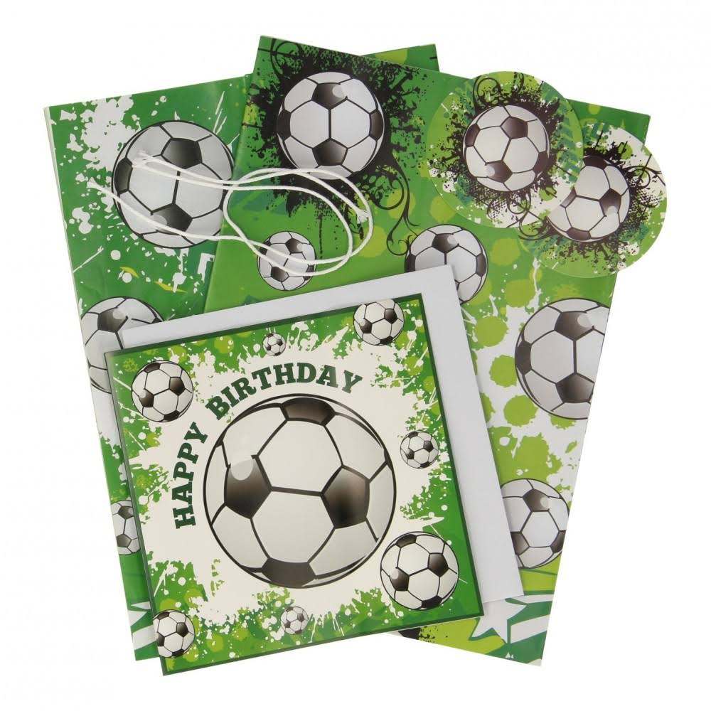 Football Gift Wrap Set 2 Sheets of Gift Wrapping Paper 2 Tags Birthday Card Boys
