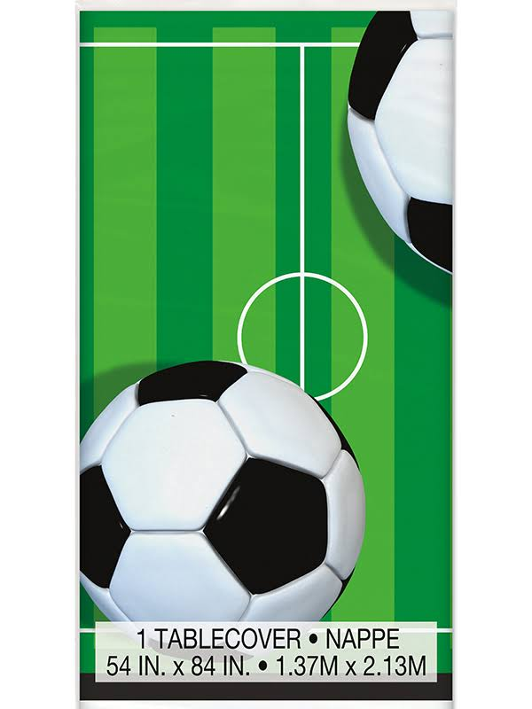 "Plastic Table Cover - Soccer, 84"" x 54"""