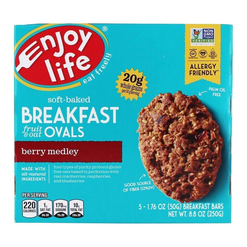 Enjoy Life Breakfast Bars, Berry Medley, Ovals - 5 pack, 1.76 oz bars