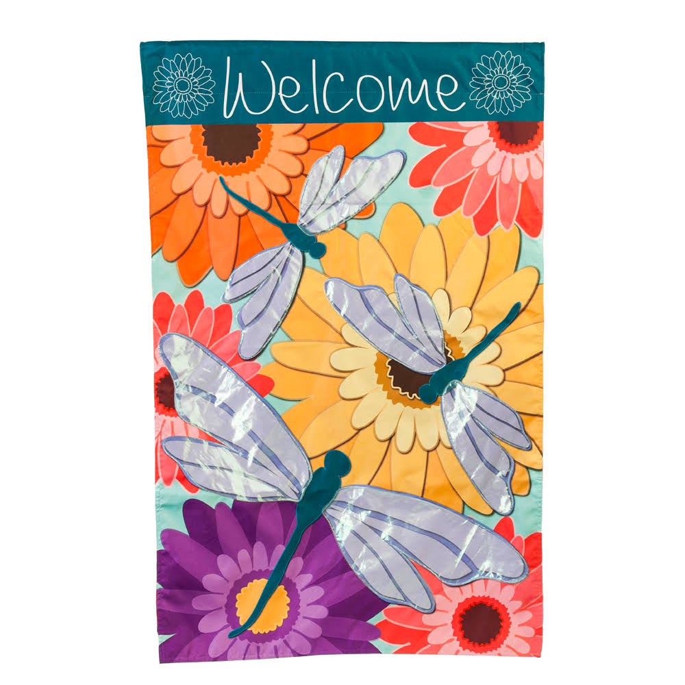Evergreen Dragonfly Welcome House Flag