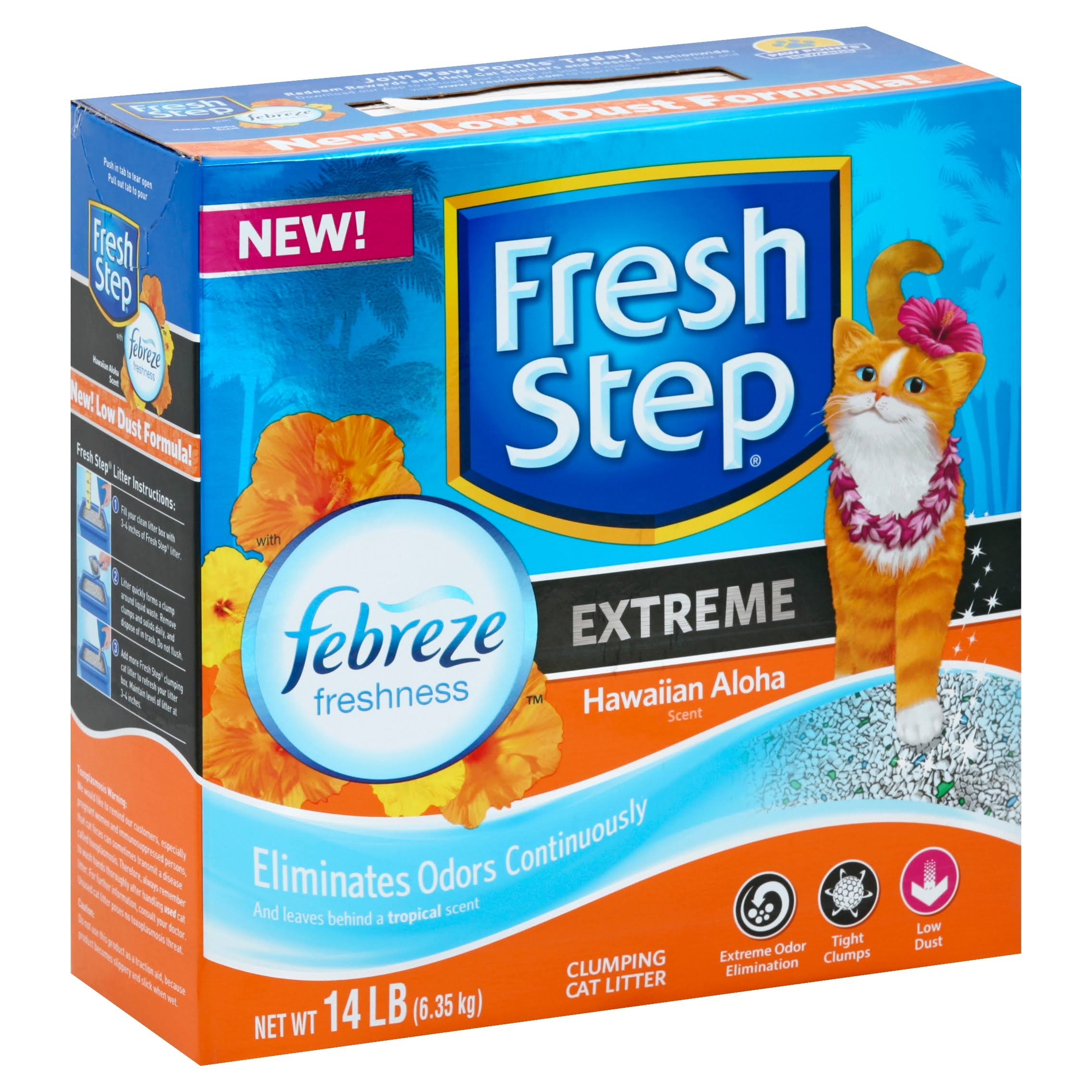 Fresh Step Cat Litter, Clumping, Hawaiian Aloha Scent, Extreme - 14 lb