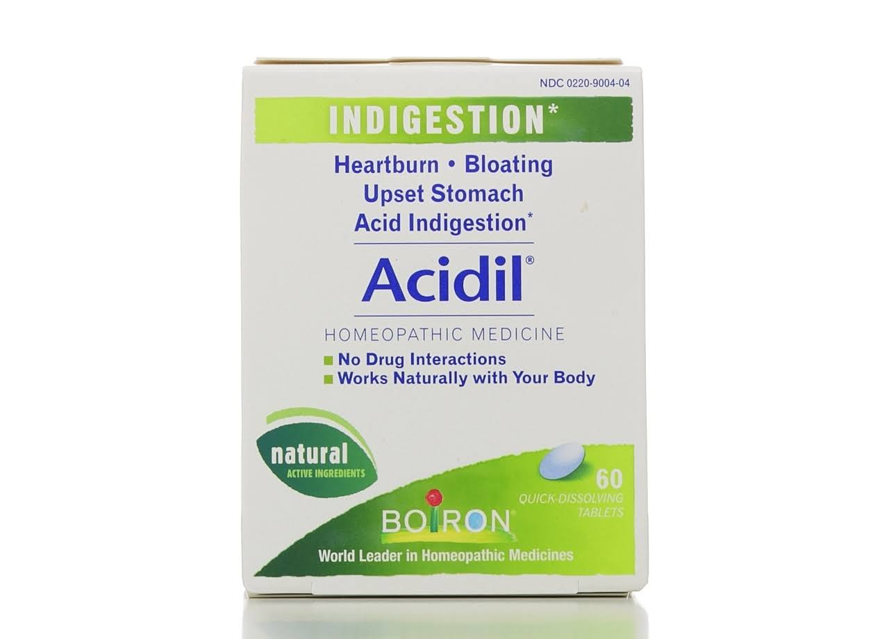 Boiron Acidil Indigestion Homeopathic Medicine - 60 Quick-Dissolving Tablets