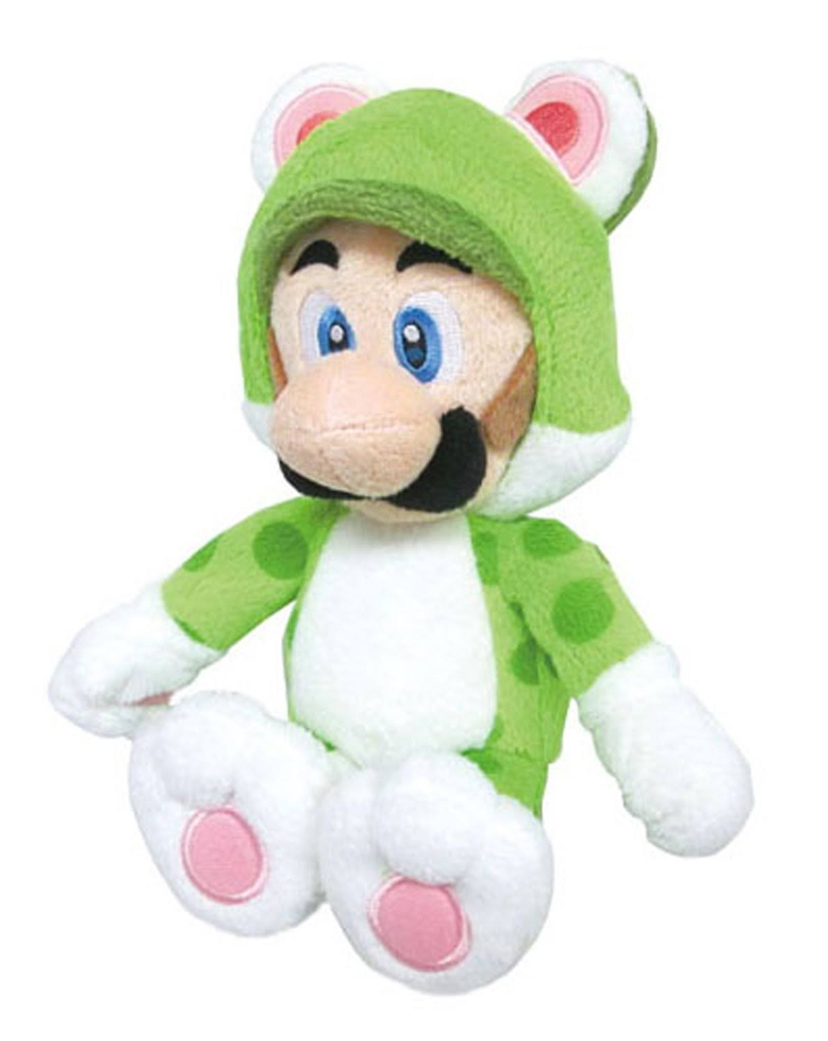 Super Mario Bros Neko Cat Luigi Plush Toy - 10""