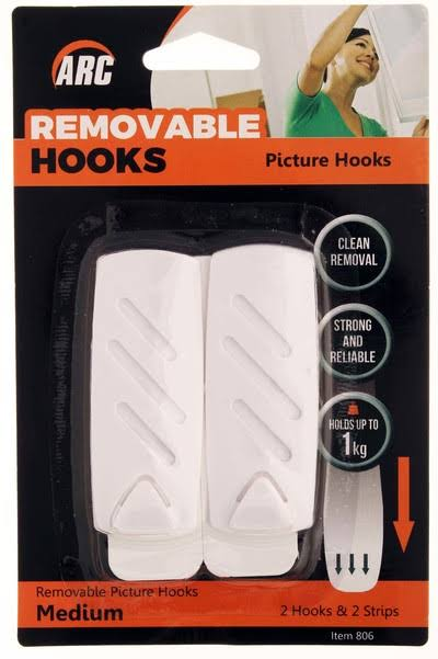 White Removable Picture Hooks Medium | Arc (806)