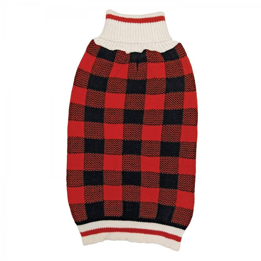 Fashion Pet Plaid Dog Sweater - Red Medium