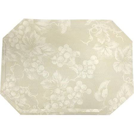 Lintex Ivory Grapevine Vinyl Tablecloth (13x19 Placemat), White