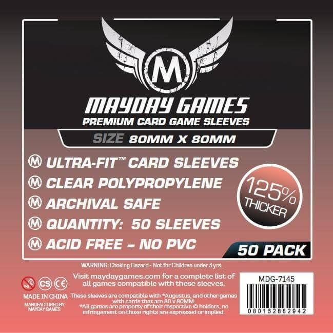 Mayday Games Premium Card Game Sleeves - Ultra-fit, 50ct, 80mm X 80mm