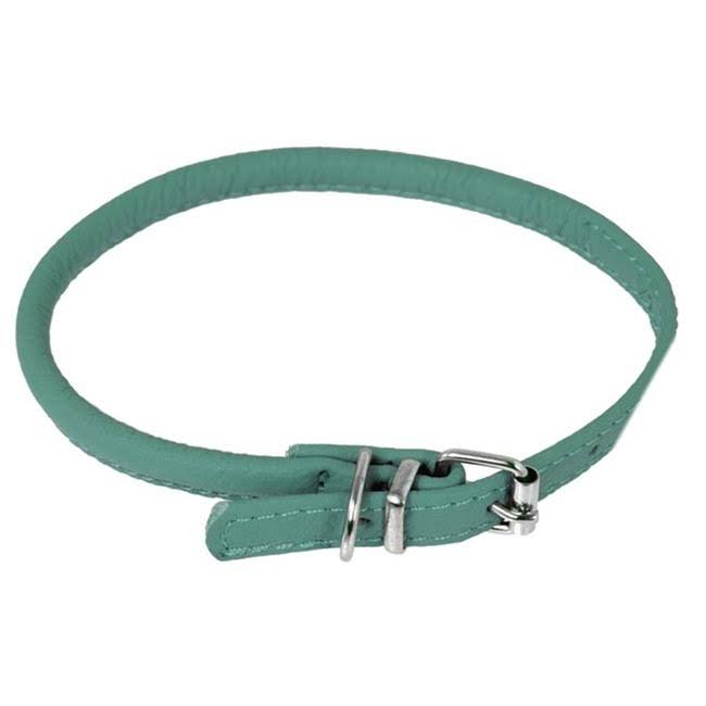 Dogline Leather Dog Collar - Teal