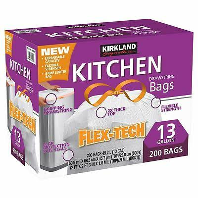 Kirkland Signature Flex Tech Drawstring Kitchen Trash Bags