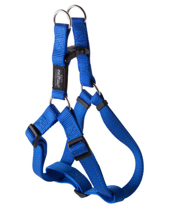 "Rogz Utility Reflective Snake Adjustable Dog Step In Harness - Blue, Medium, 5/8""'"