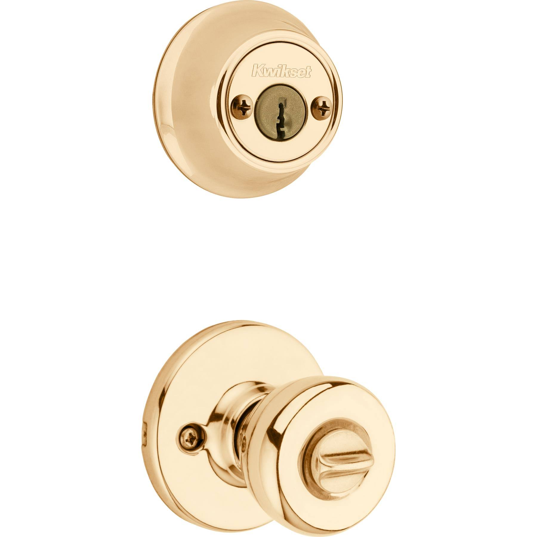 Kwikset 695 Tylo Entry Knob And Double Cylinder Deadbolt Combo Pack - Polished Brass