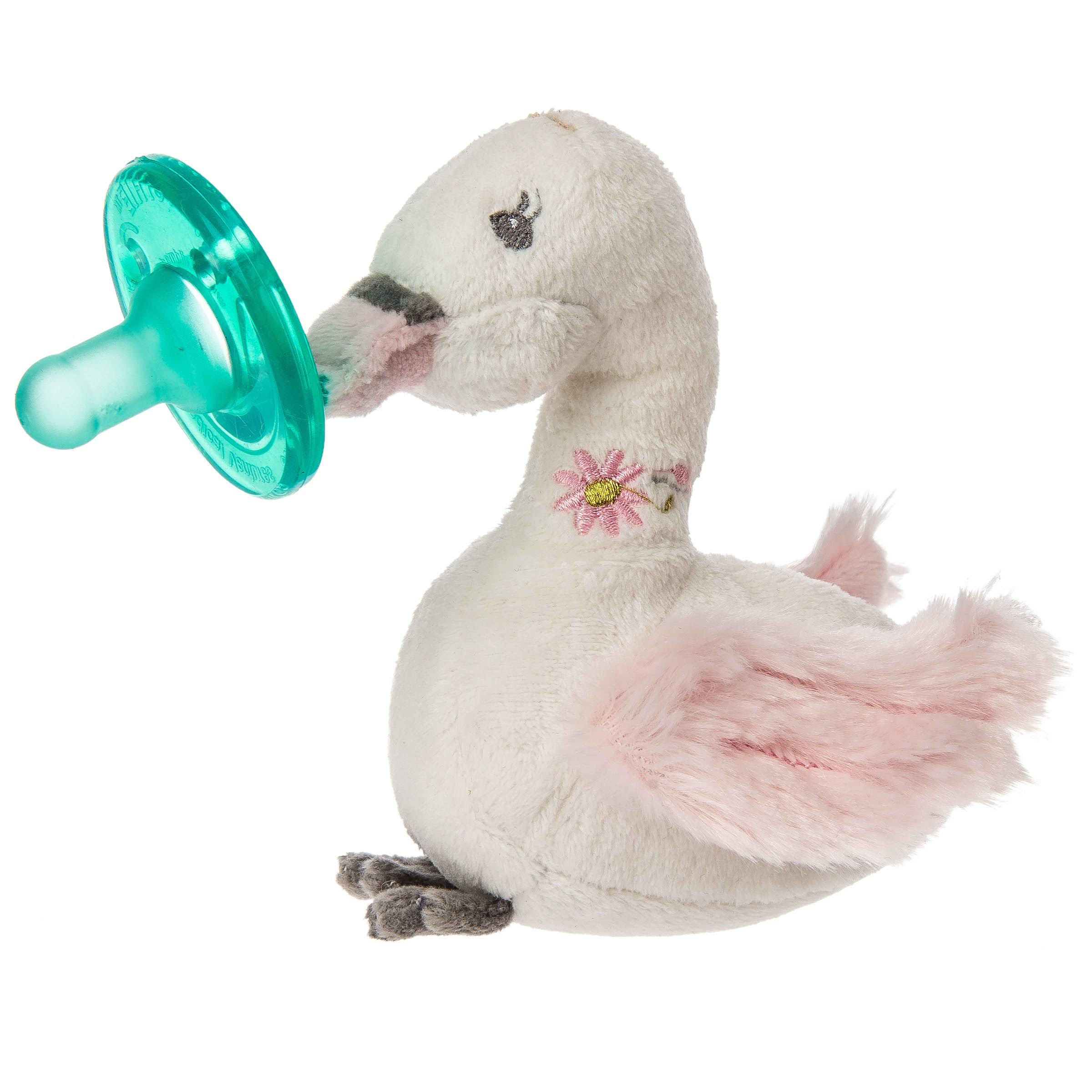 Mary Meyer WubbaNub Soft Toy and Infant Pacifier - Itsy Glitzy Swan, Green