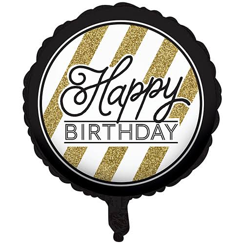 Creative Converting Black & Gold Happy Birthday Mylar Balloon
