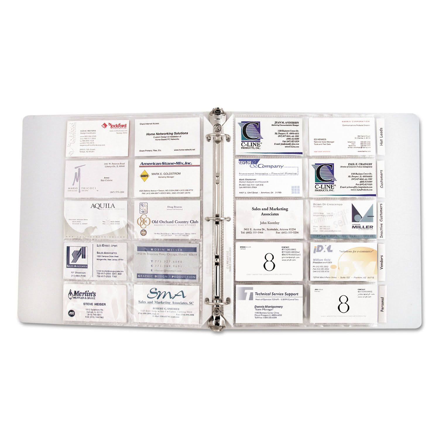 "C-Line Business Card Holder Pages - 20 Cards/Page, 11"" x 9"""
