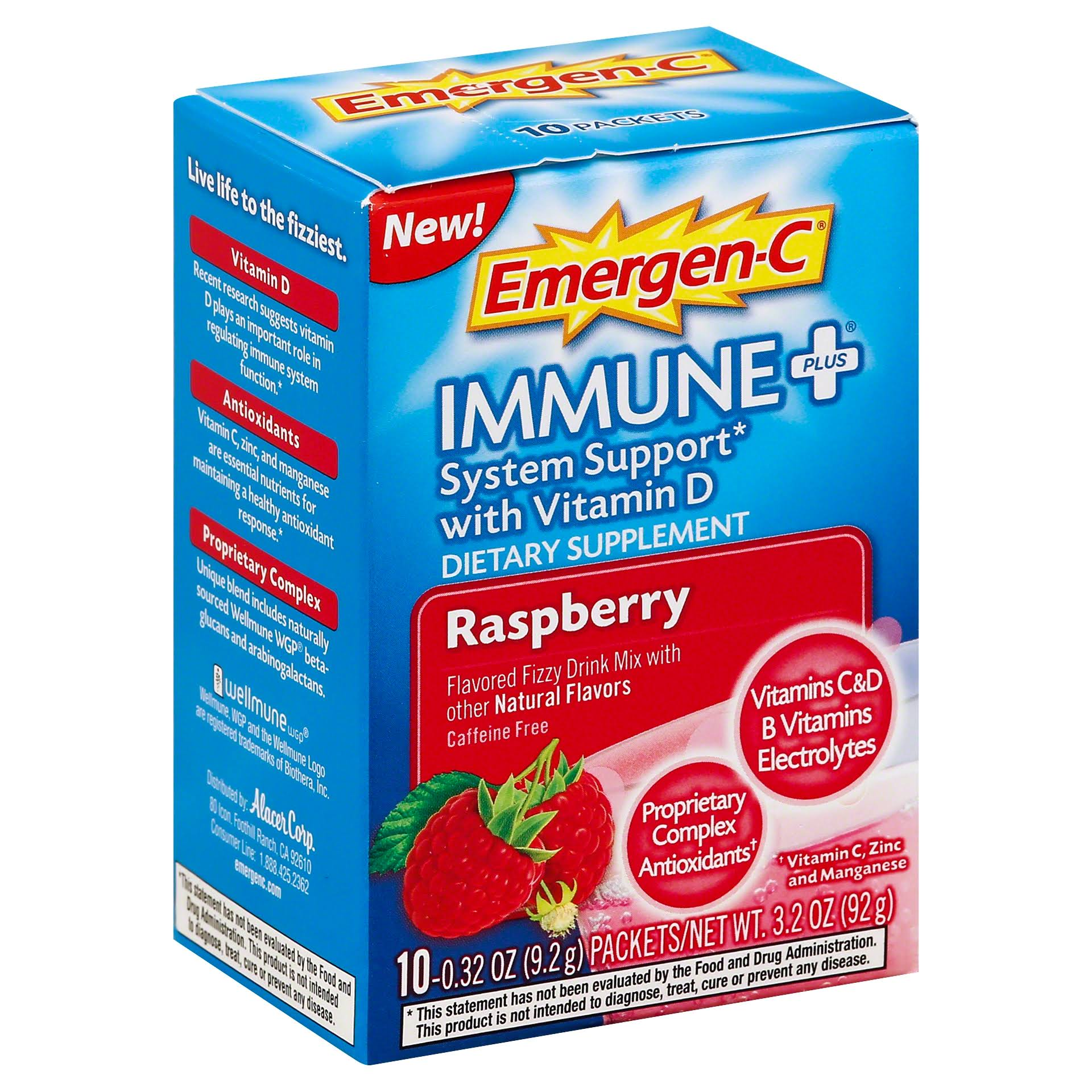 Emergen-C Immune Plus System Support Dietary Supplement - Raspberry, 92g