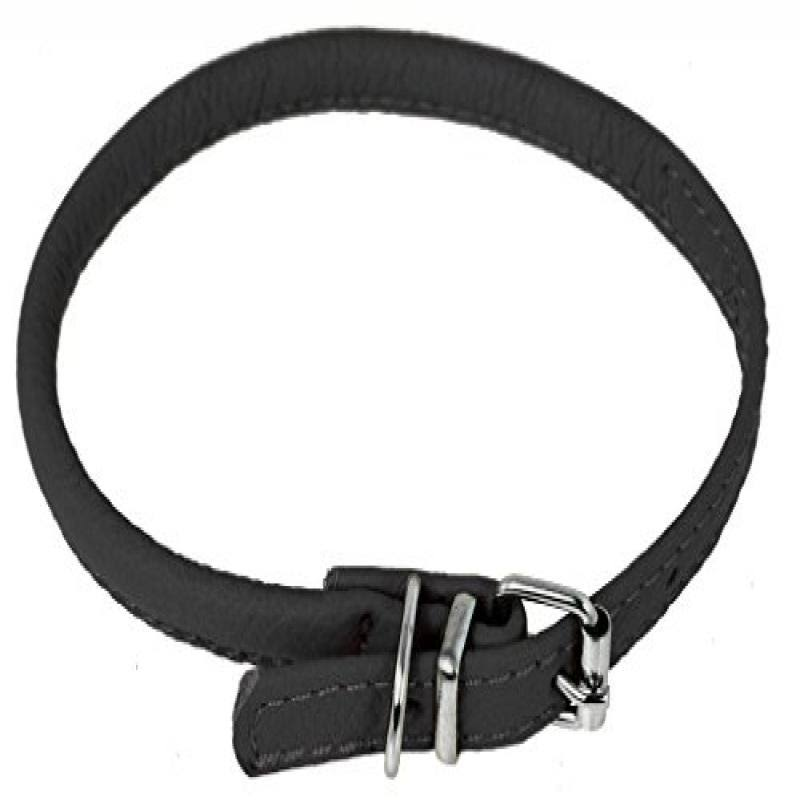 "Dogline Soft Padded Rolled Round Leather Dog Collar - 1/4"" x 8-10"", Black"