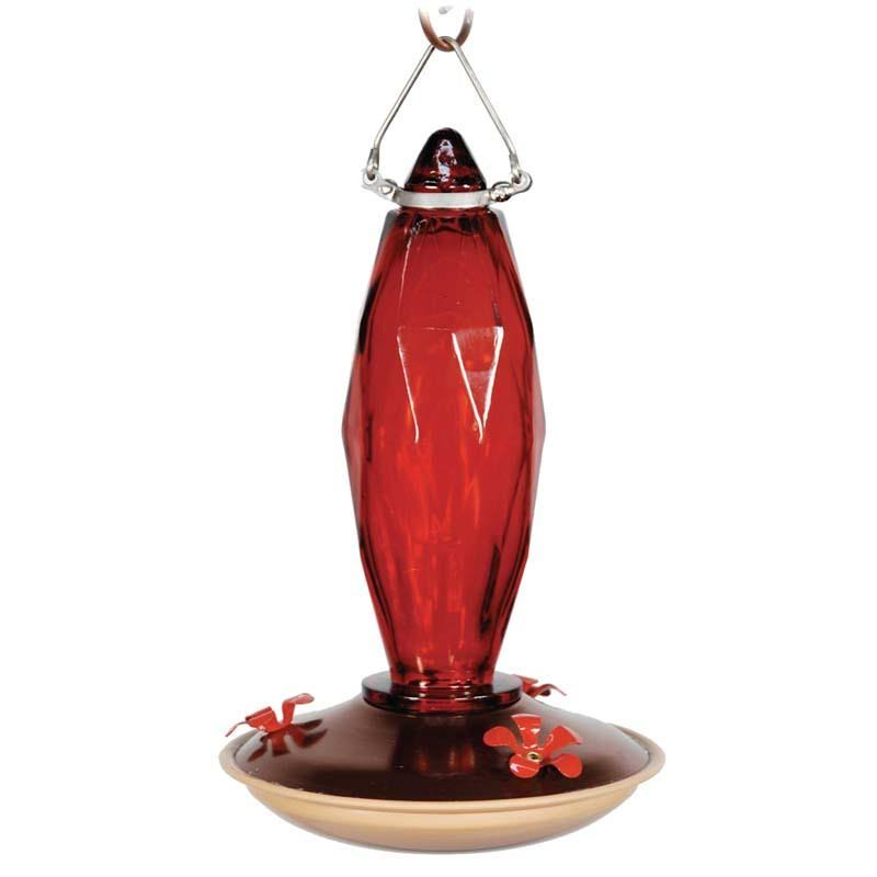 Audubon Jewel Cut Glass Hummingbird Feeder - Red, 9""