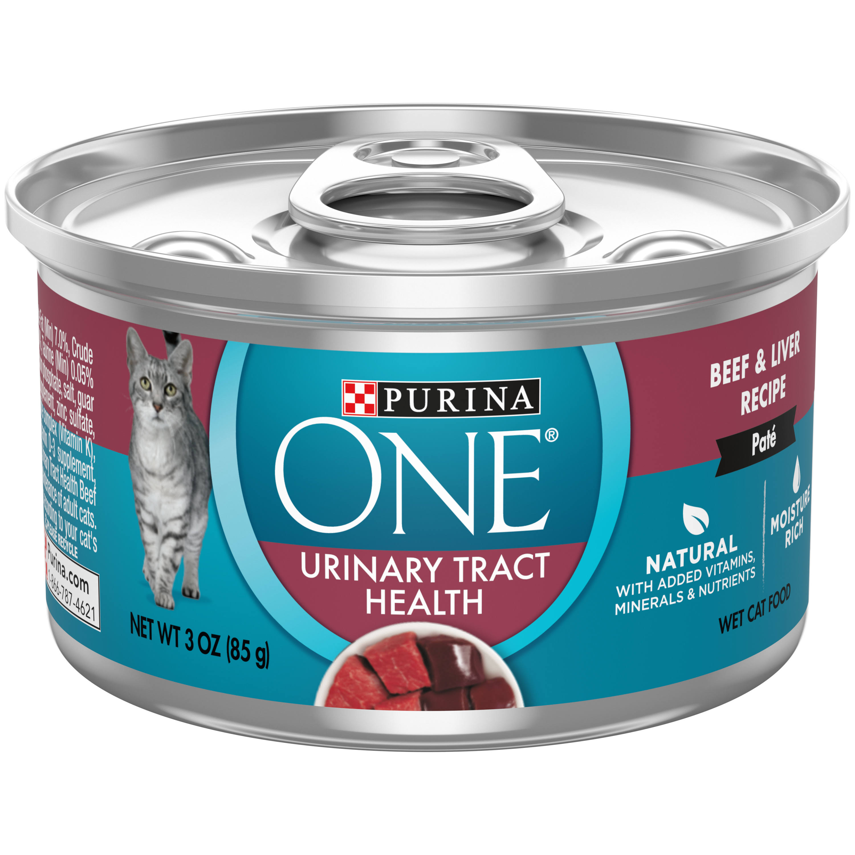 One Cat Food, Beef/Liver Recipe, Urinary Tract Health, Wet - 3 oz