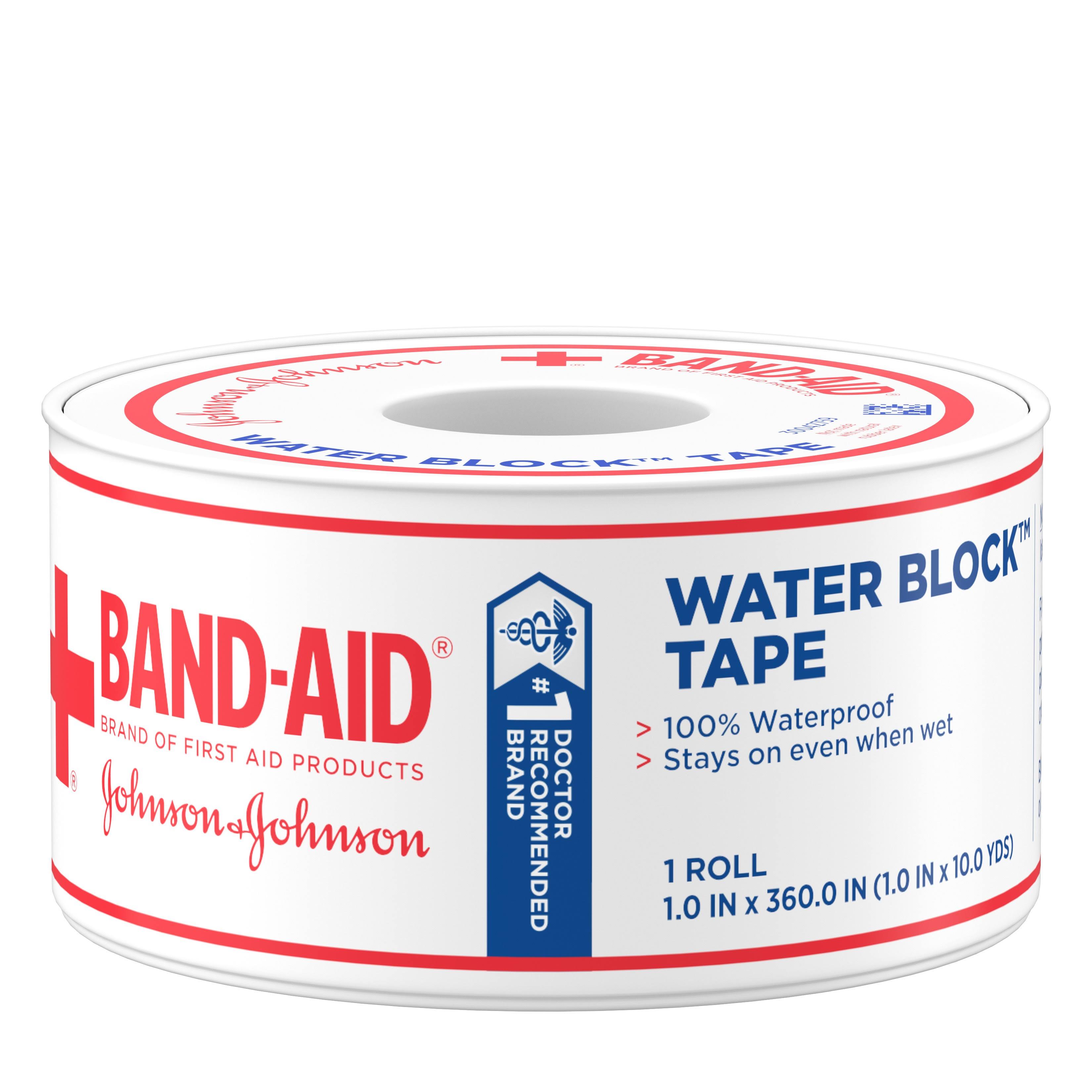 Band-Aid Brand First Aid Water Block Waterproof Adhesive Tape Roll, 1 in x 10 yd