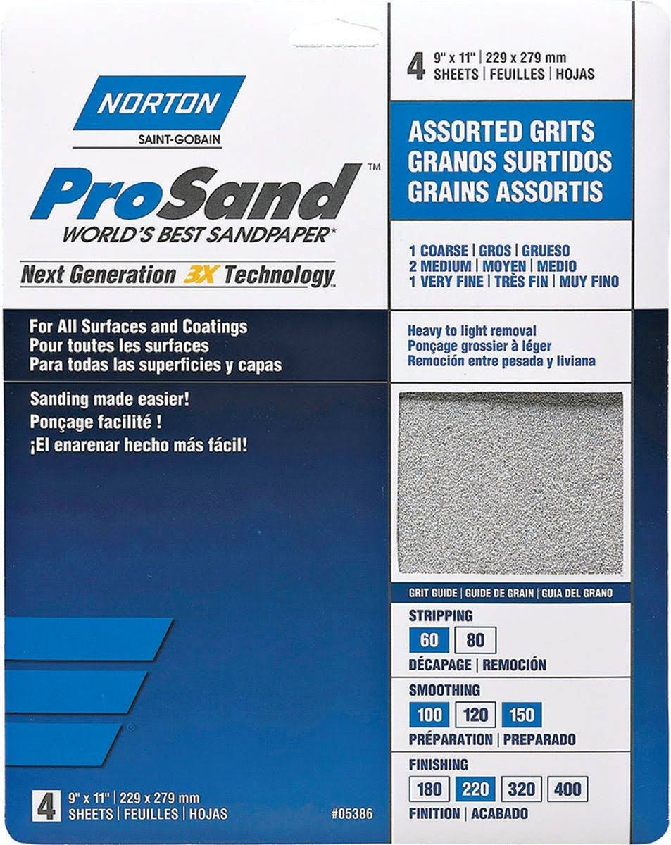 "Norton Sand Paper - 9"" X 11"", Assorted Grit, 4 Pack"