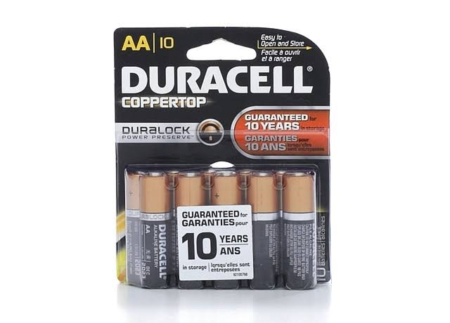 Duracell Coppertop Alkaline AA Battery - 10 Pack