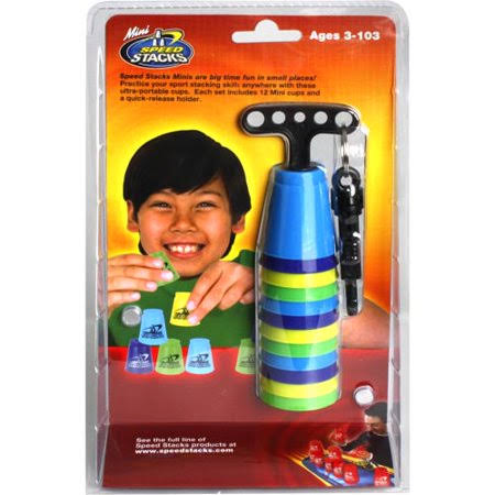 Speed Stacks Mini Toy Play Set - 12 Ultra Portable Cups, Blue, Purple, Green and Yellow