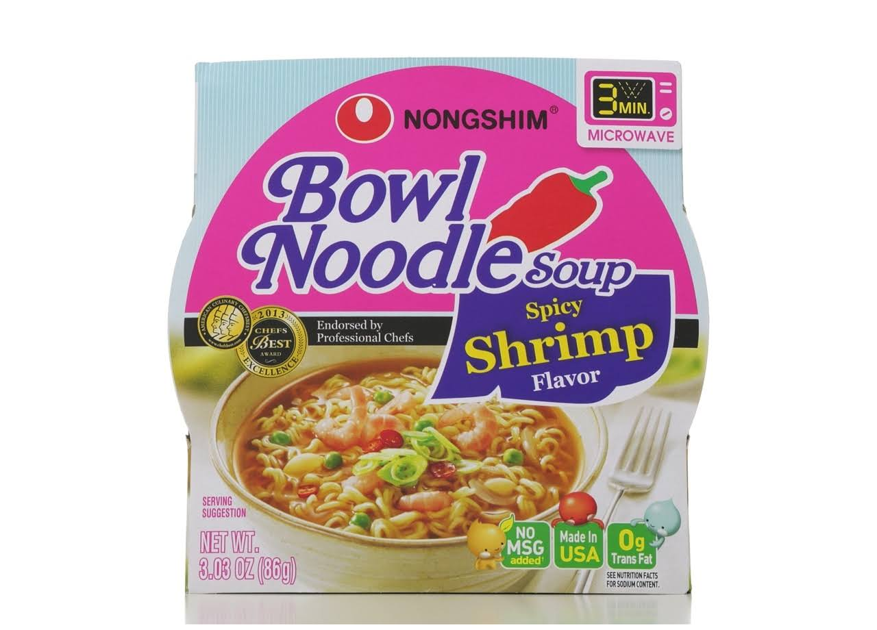 Nongshim Bowl Noodle Soup - Spicy Shrimp Flavor, 3.03oz