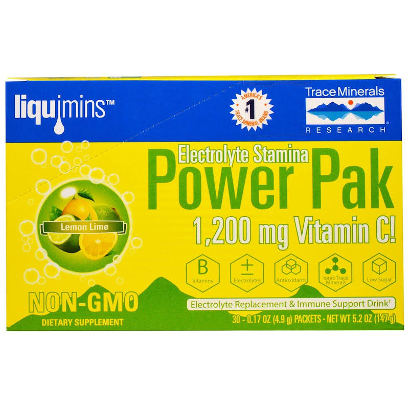 Trace Minerals Electrolyte Stamina Power Pak - Lemon & Lime, x30