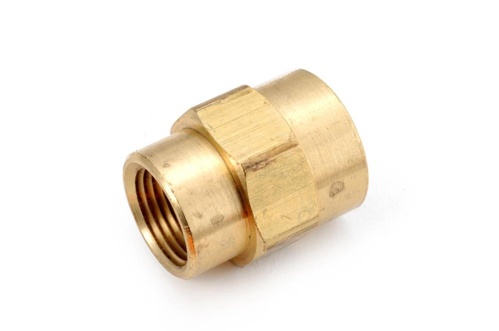 "Anderson Metals 756119-0804 Reducing Coupling - Yellow Brass, 1/2""x1/4"""