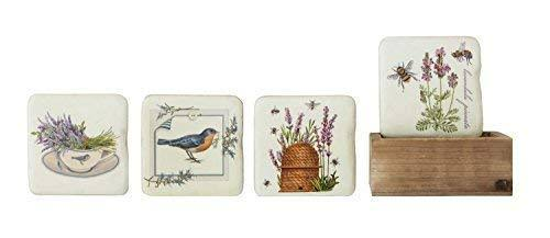 "Creative DA9235 Resin Coasters in Wood Box with Image Set, 3.75"" Square, Lavender"
