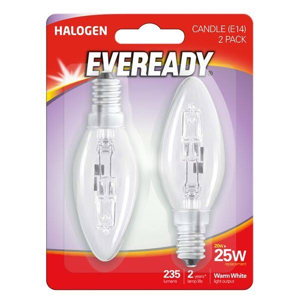 Eveready Eco Halogen 20W 25W Equivalent Candle Cap Light Bulb, Pack of 2, E14, W