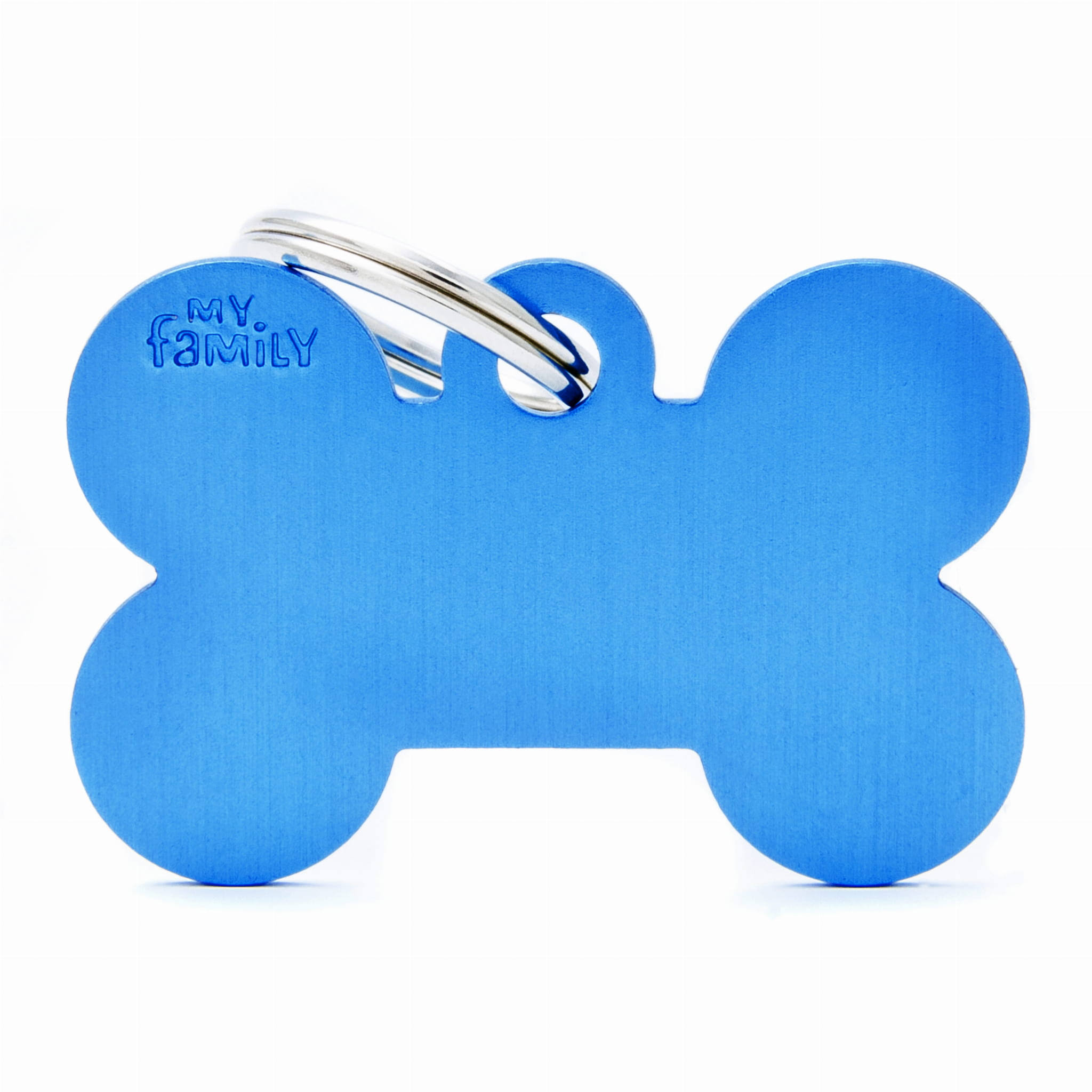 My Family Pet ID Tag - Large, Blue Bone