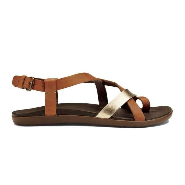 Olukai Upena Women's Sandals - Brown/Silver, 8 US