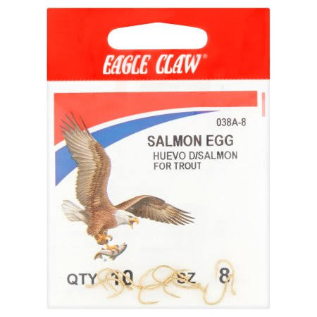 Eagle Claw Gold Salmon Egg Up Eye Offset Hook - 10-Pack