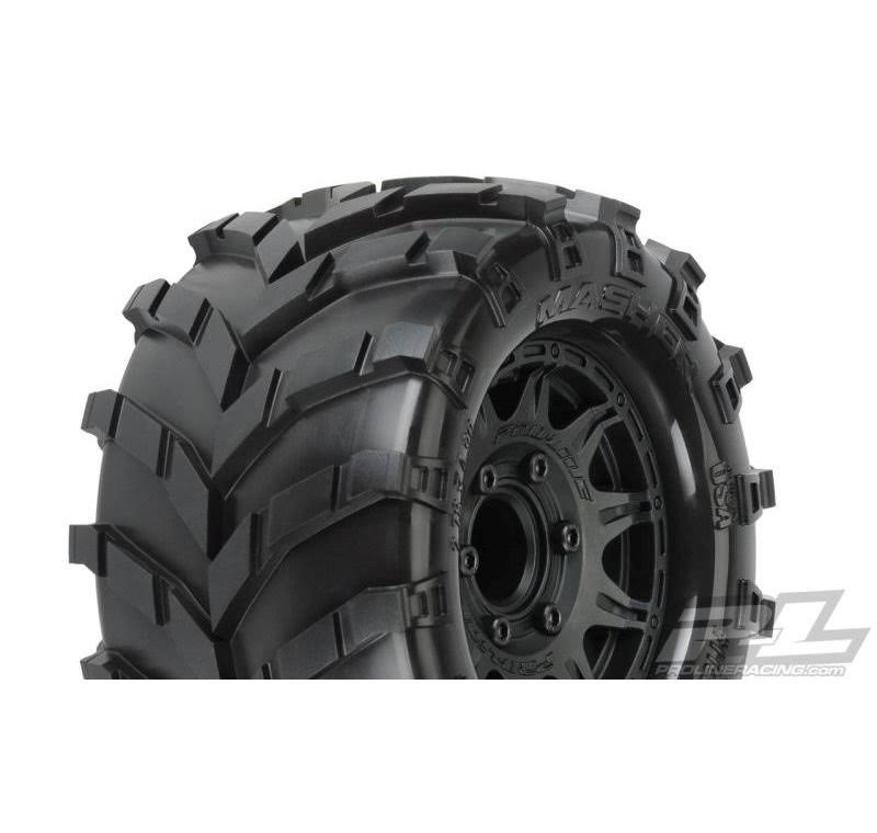 "Proline Masher 2.8"" All Terrain Tires Mounted on Raid Black 6x30"