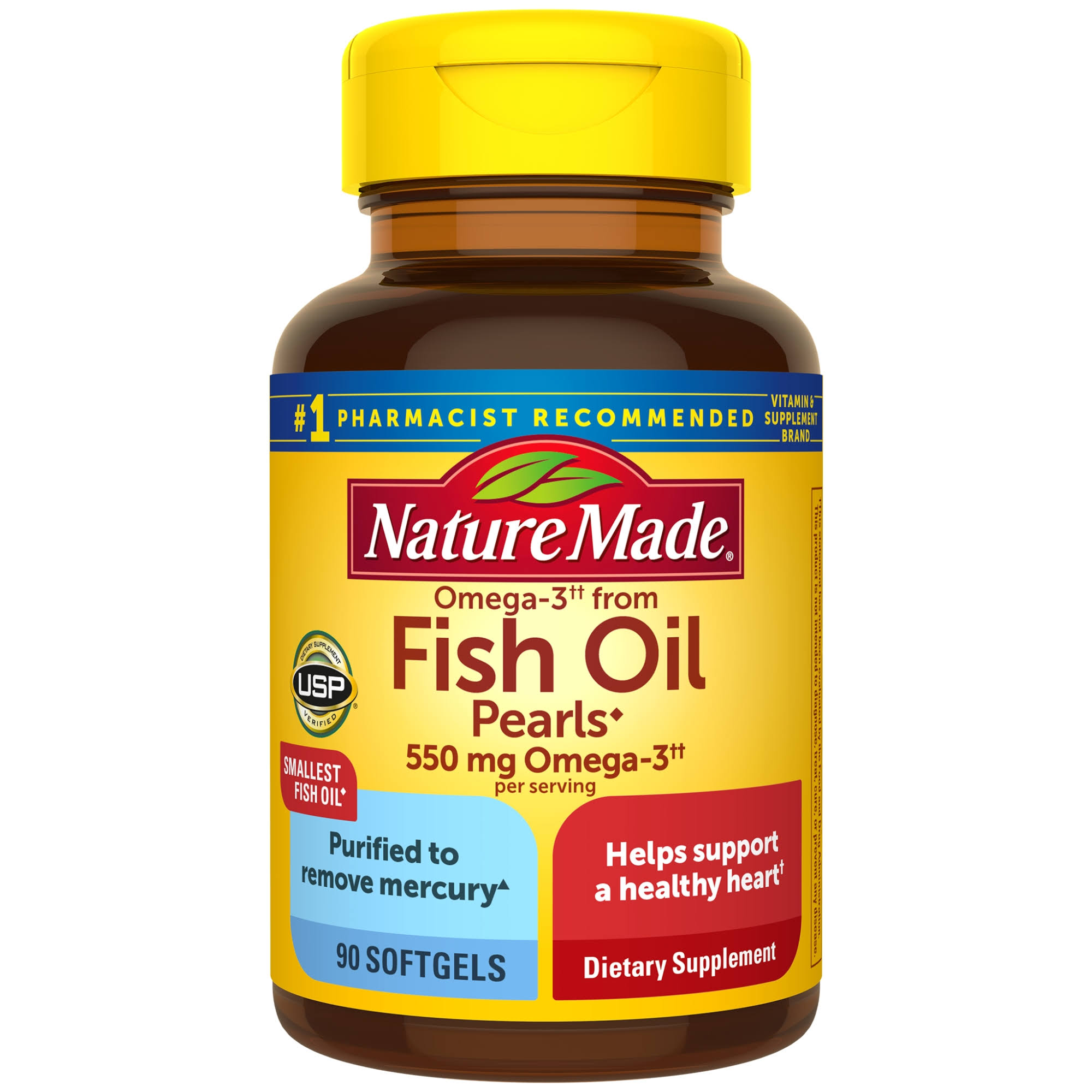 Nature Made Fish Oil Pearls Softgel - 500mg, 90ct