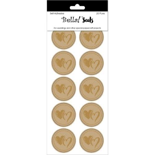 "Bella! Wedding Foiled Seals 1.2"" 20/Pkg Gold Hearts"