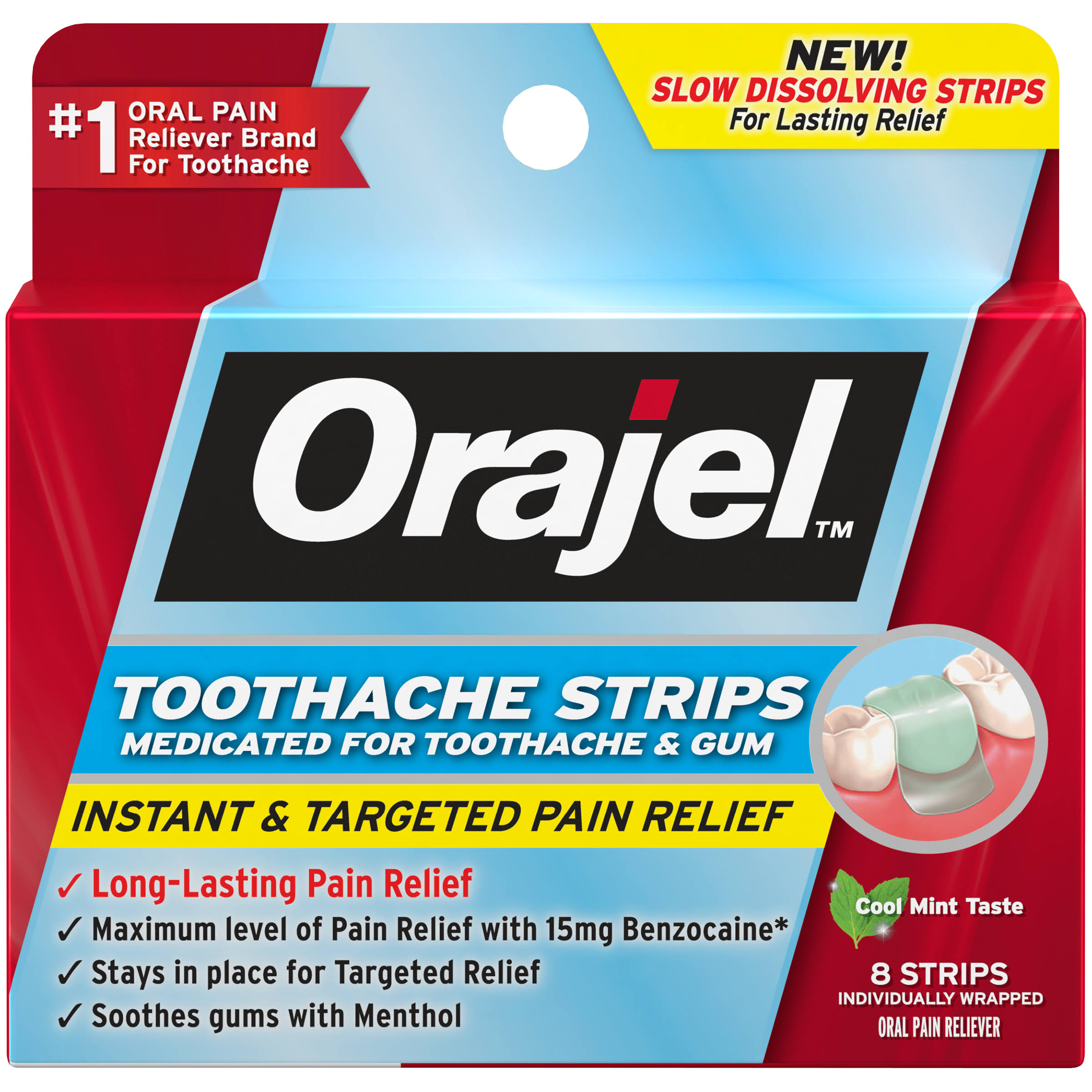 Orajel Toothache Strips, Cool Mint Taste - 8 strips