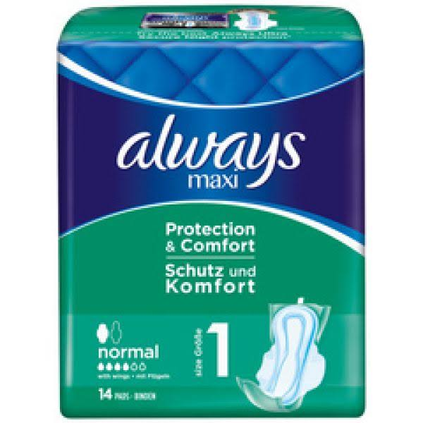 Always Maxi Normal Sanitary Towels Wings - Size 1, 14 Pads