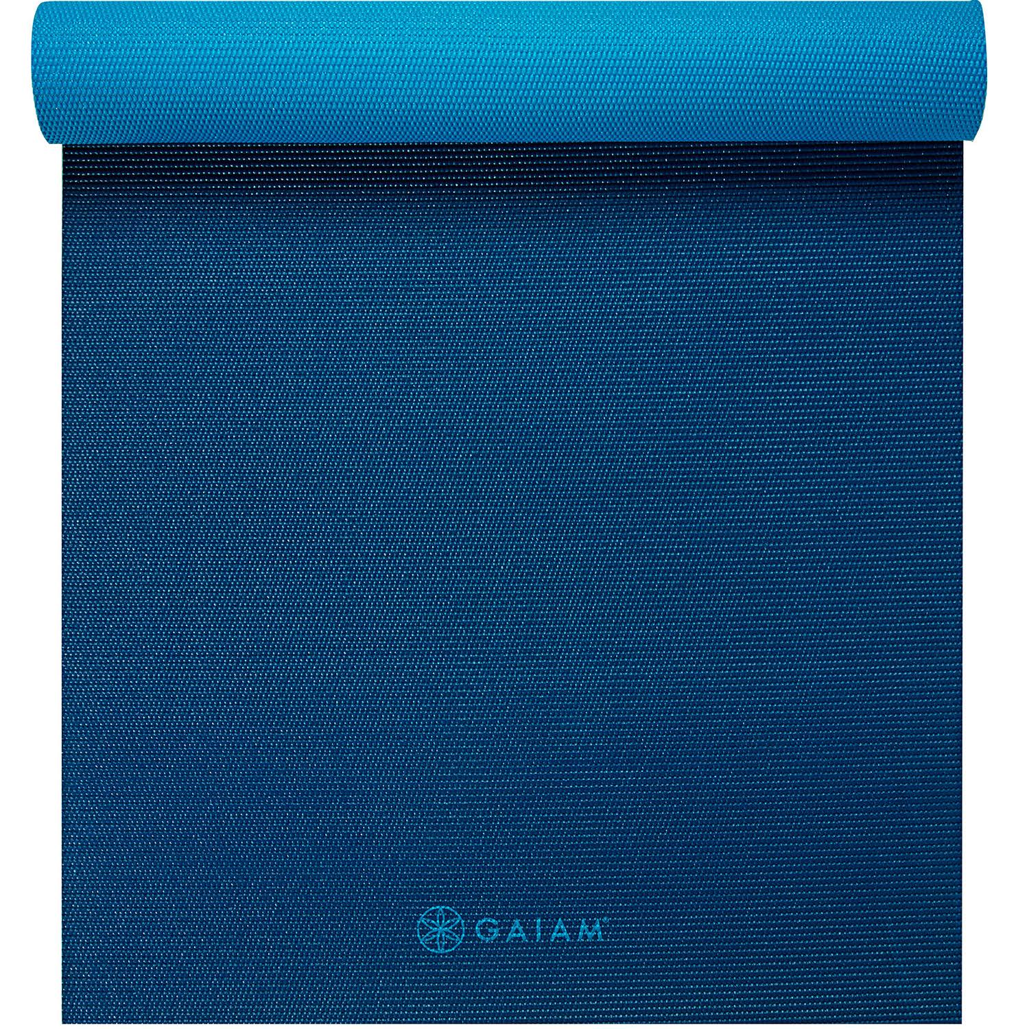 Gaiam Premium Reversible Yoga Mat - Blue, 5mm thick