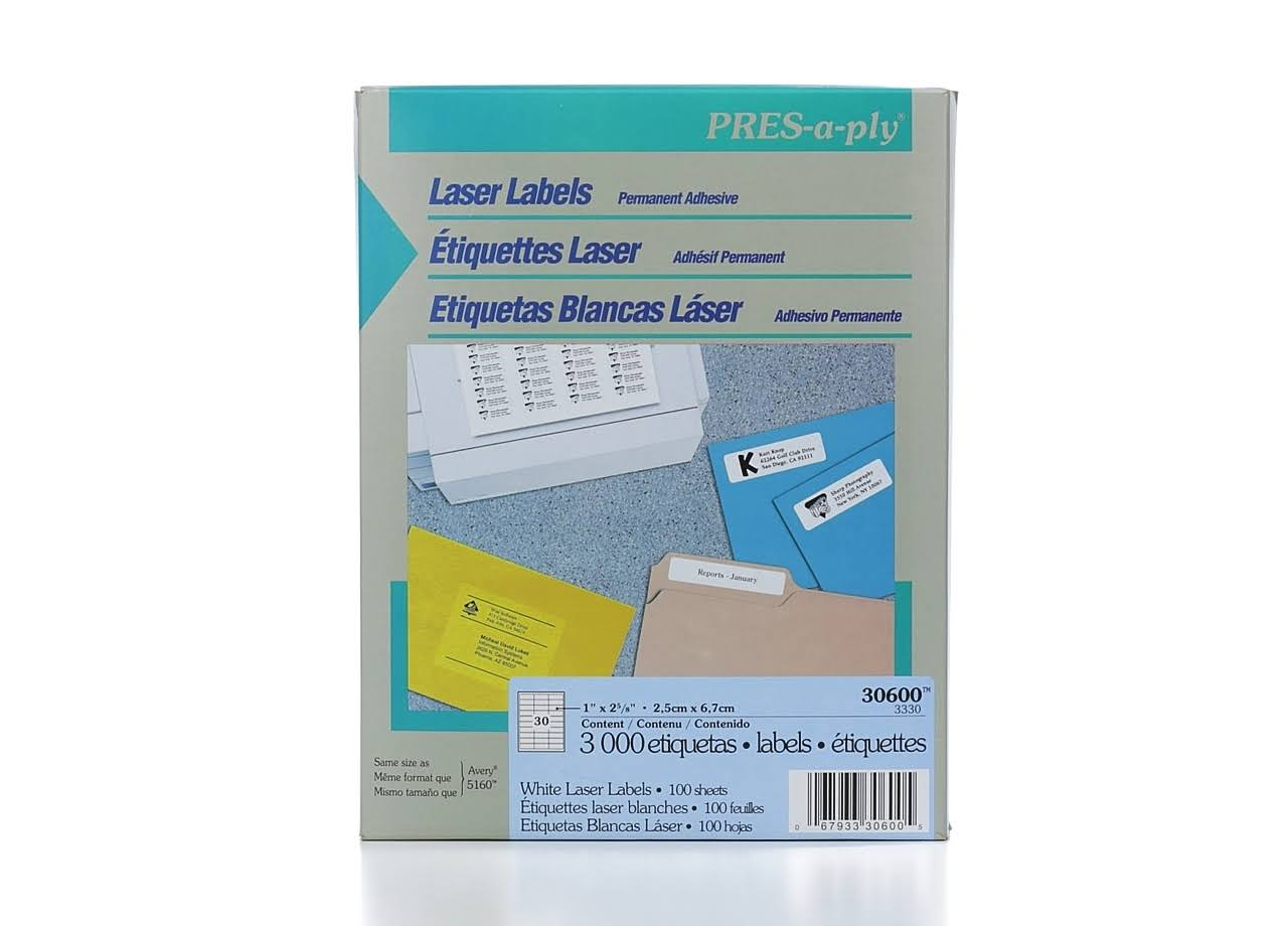 "Avery Pres A Ply Laser Address Labels - 1"" x 2 5/8"""
